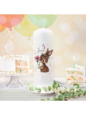 Geburtstagskerze Kerze Geburtstag Blume Hase Name Alter wk134 + Lichthüllen-Set te134