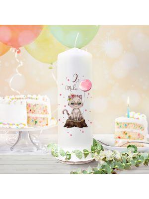 Geburtstagskerze Kerze Geburtstag Katze Ballon Name Alter wk135 + Lichthüllen-Set te135