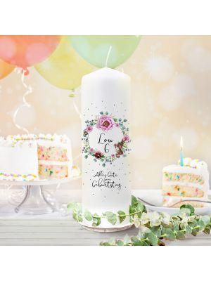 Geburtstagskerze Kerze Blumenkranz Name Alter wk140 + Lichthüllen-Set te140