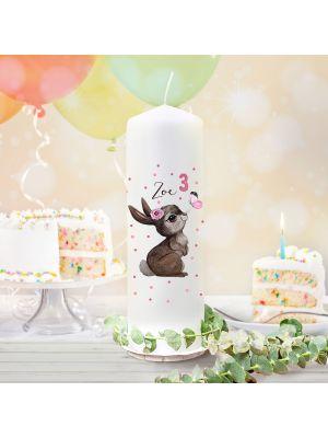 Geburtstagskerze Kerze Hase Schmetterling Name Alter wk159 + Lichthüllen-Set te159