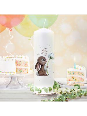 Geburtstagskerze Kerze Hase Pusteblume Name Alter wk160 + Lichthüllen-Set te160