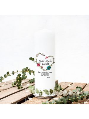 Taufkerze Kerze zur Taufe oder Geburt Kommunionkerze Blütenherz Blumen wk03