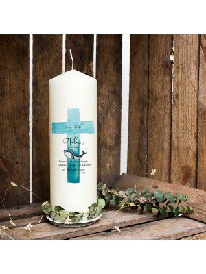 Taufkerze Kerze zur Taufe oder Geburt Kommunionkerze Kreuz blau mit Wal Spruch Wunschname & Datum wk42