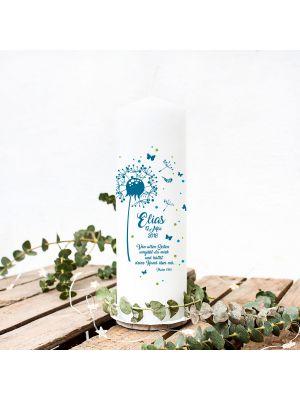 Taufkerze Kerze zur Taufe oder Geburt Kommunionkerze Pusteblume blau mit Spruch Wunschname & Datum wk45