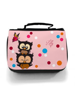 Waschtasche Kosmetiktasche Eulen mit Schmetterling Wunschname toilet bag owls with butterfly desired name wt007