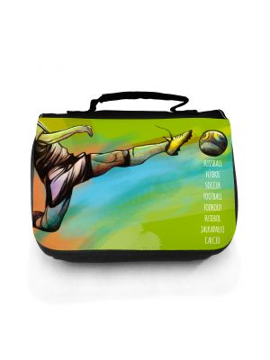 Waschtasche Waschbeutel Kulturbeutel Kosmetiktasche Reisewaschtasche Fussball Fussballer wt106 Washbag toilet bag sponge bag cosmetics bag travel washbag football soccer wt106
