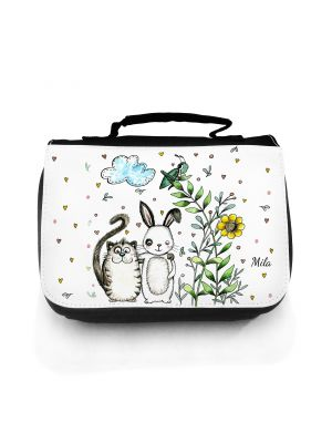 Waschtasche Waschbeutel Kulturbeutel Kosmetiktasche Reisewaschtasche Hase und Katze mit Wunschnamen wt107 Washbag toilet bag sponge bag cosmetics bag travel washbag rabbit and cat with desirable name wt107