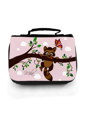 Waschtasche Waschbeutel Kulturbeutel Kosmetiktasche Reisewaschtasche Waschbär auf Ast mit Schmetterling und Wunschnamen washbag toilet bag sponge bag cosmetics bag travel washbag racoon on branch with butterfly and custom name wt121
