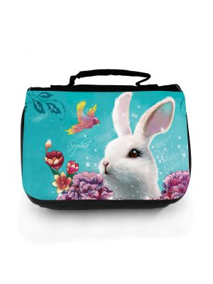 Waschtasche Waschbeutel Kulturbeutel Kosmetiktasche Reisewaschtasche Hase Häschen mit Hortensia Vogel und Wunschnamen washbag toilet bag sponge bag cosmetics bag travel washbag bunny with hortensia bird and custom name wt125