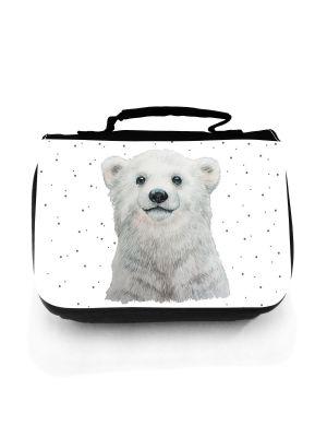 Waschtasche Eisbär Polarbär Punkte Kulturbeutel Kosmetiktasche Reisewaschtasche Tier wt208
