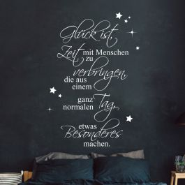 wandtattoo familie aufkleber zitat spruch gl ck ist zeit. Black Bedroom Furniture Sets. Home Design Ideas