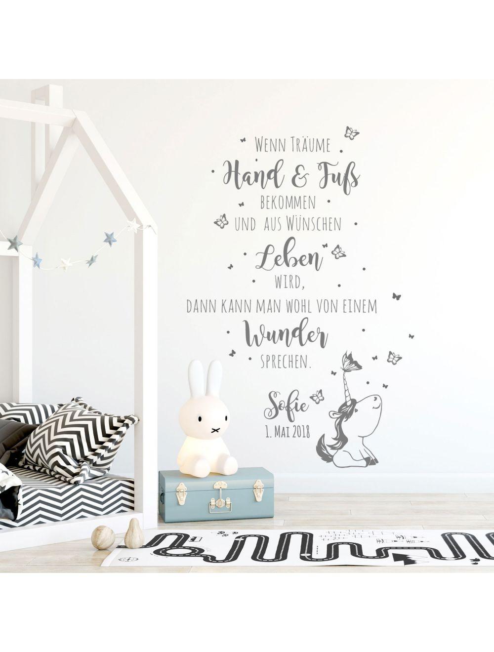 Wandtattoo Babyzimmer Spruch Einhorn Zitat Schmetterlinge Kinderzimmer Wanddeko Wandgestaltung Mit Namen Datum M2339