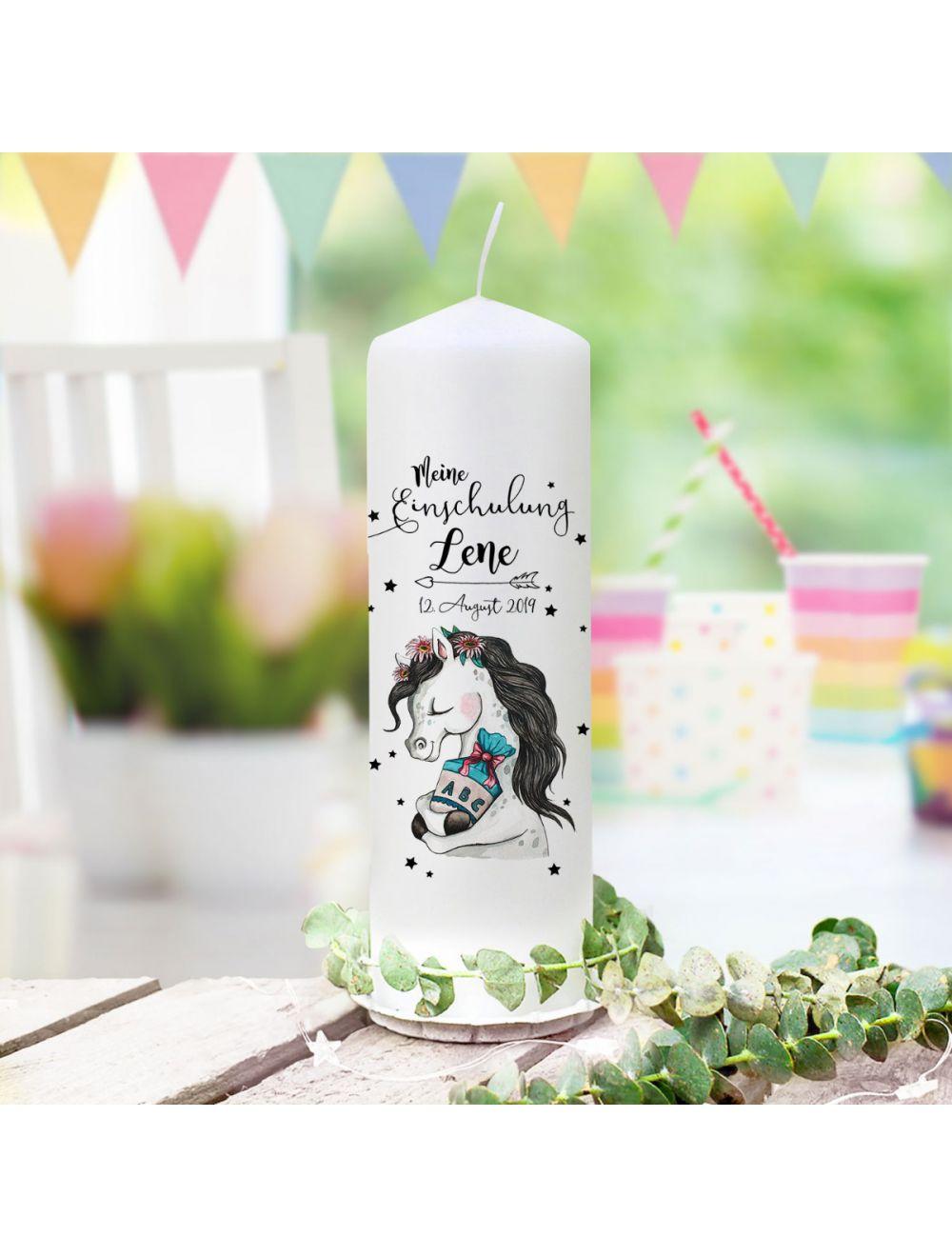 Geschnitzte Kerze 12cm Idee Geburtstag Deko Schulbeginn Schultütte Einschulung