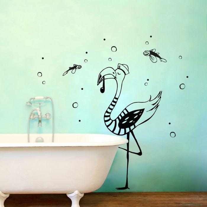 Wandtattoo Kapitän Flamingo mit Seifenblasen und fliegenden Fischen ...
