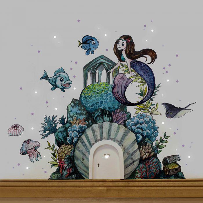 Elfentur Wichteltur Mit Wandtattoo Aufkleber Sticker Meerjungfrau Unterwasser Mit Fischen Und Quallen E18