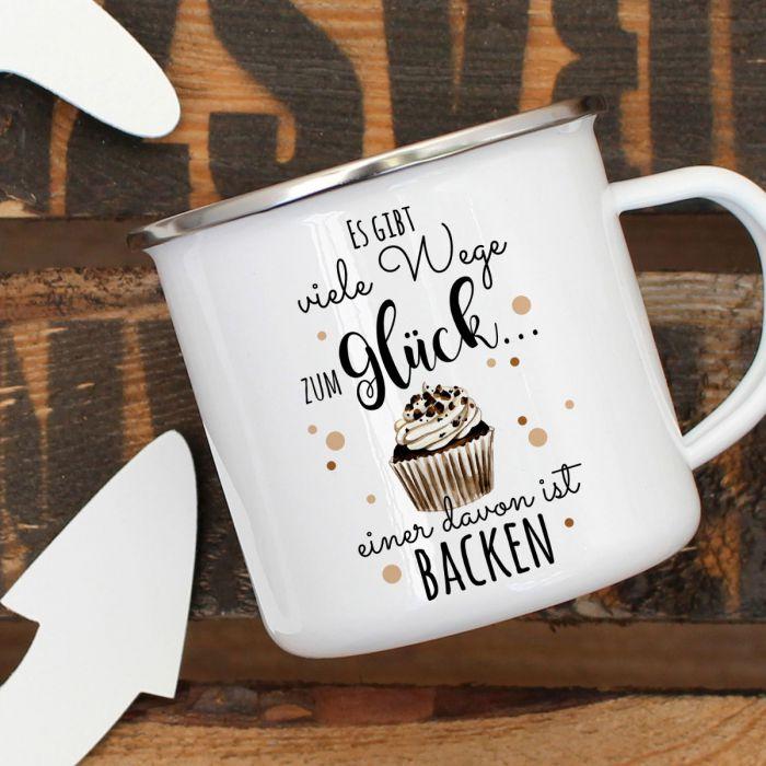 Emaille Becher Tasse Kuchen Muffin Viele Wege Zum Glück Backen Kaffeebecher Eb442