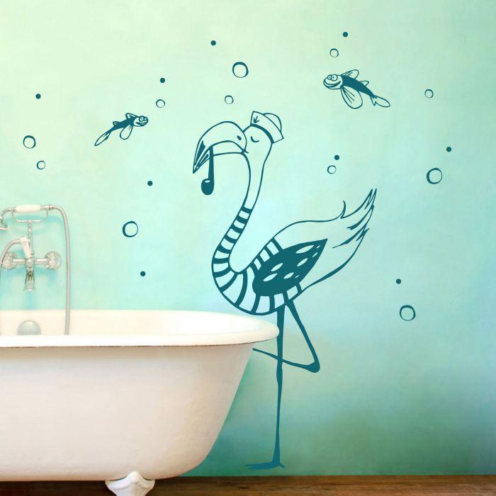 Wandtattoo Kapitän Flamingo mit Seifenblasen und fliegenden Fischen M2086