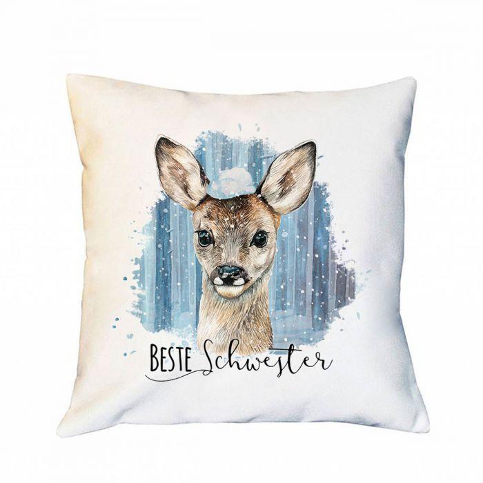 Kissen Mit Reh Rehkitz Im Schnee Dekokissen Zierkissen Bedruckt