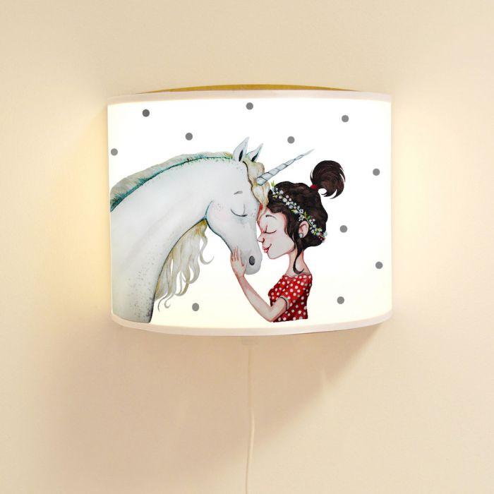 Wandlampe Kinderlampe mit süßen Einhorn & Mädchen Lampe Motivlampe ...