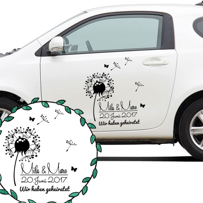 Autoaufkleber Autotattoo Hochzeit Mit Pusteblume Namen Datum Und Spruch Wir Haben Geheiratet M2143