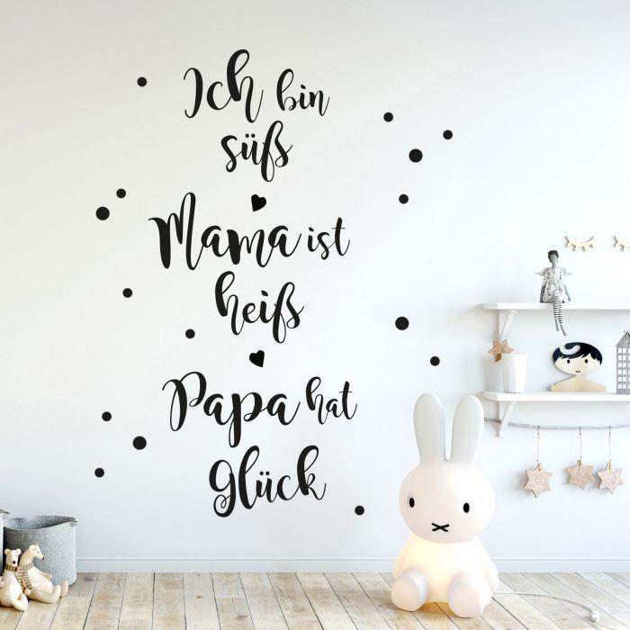 Wandtattoo mit Spruch Familie Mama Papa Baby Kind Wanddeko Wandgestaltung  M2238