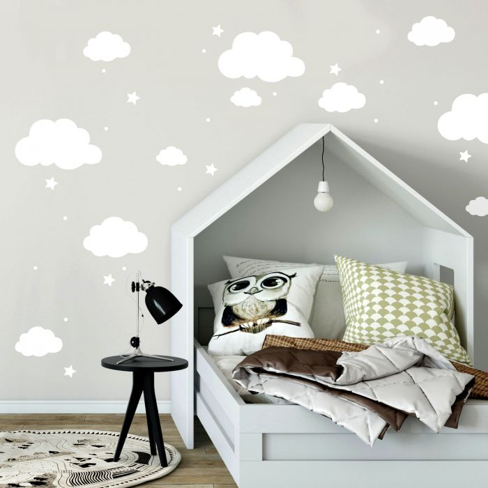 Wandtattoo Mit Wolken Sterne Punkte In Weiss Kinderzimmer Wanddeko