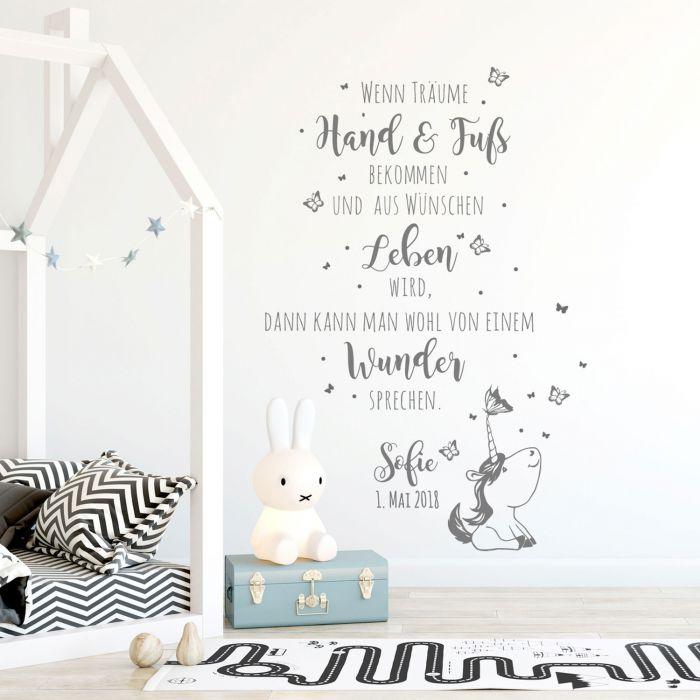 Wandtattoo Babyzimmer Spruch Einhorn Zitat & Schmetterlinge ...