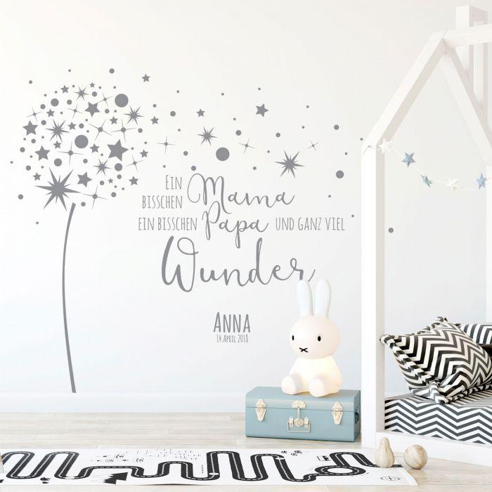 Wandtattoo Babyzimmer Pusteblume Spruch Zitat & Sterne Kinderzimmer ...