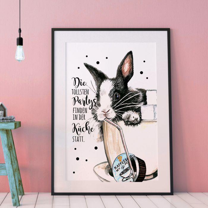 A3 Print Hase Häschen mit Spruch Poster Plakat Motto Zitat Die ...