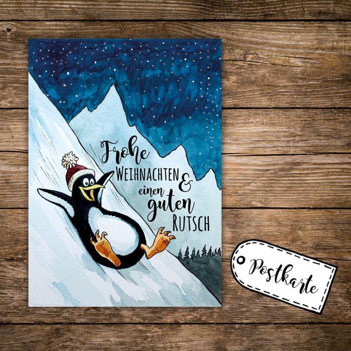 A6 Weihnachtskarte Postkarte Print Pinguin Im Winter Mit Spruch Frohe Weihnachten Pk140