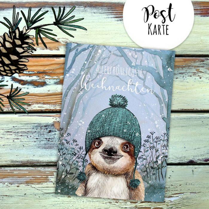 Weihnachtsgrüße Postkarte.A6 Weihnachtskarte Weihnachtsgrüße Postkarte Faultier Grußkarte Allerfröhlichste Weihnachten Pk223