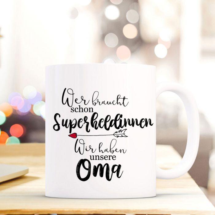 Tasse Becher mit Spruch Superheldinnen unsere Oma Kaffeebecher ...