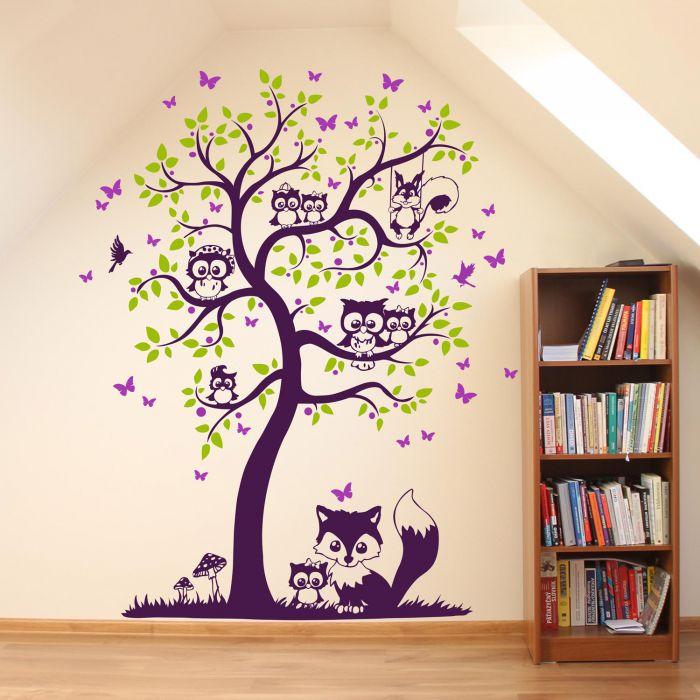 Wandtattoo Baum Mit Eulen Eichhornchen Fuchs Und Schmetterlinge