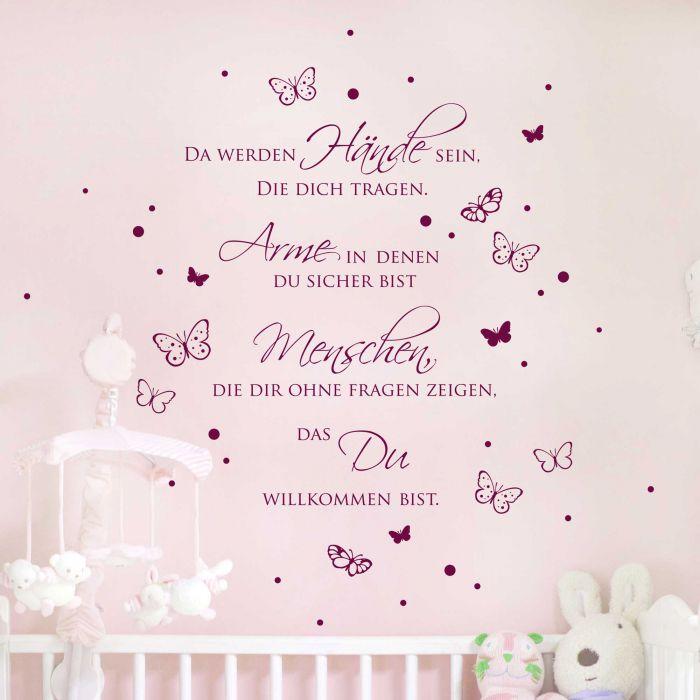 Wandtattoo Zitat Baby Spruch Da werden Hände sein... mit Punkten und  Schmetterlingen M1969