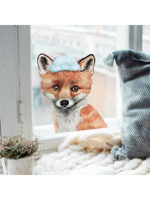 Fensterbild Fuchs mit Schnee -wiederverwendbar- Fensterdeko Fensterbilder bf10