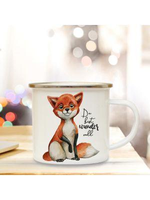 Emaille Becher Tasse Fuchs mit Spruch Du bist wundervoll Kaffeetasse Geschenk eb282