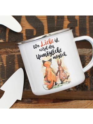 Emaille Becher Tasse Fuchs Hase Spruch Wo Liebe ist... Kaffeetasse Geschenk eb322