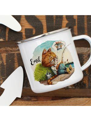 Tassen Tasse Becher Katze Kater Kleiner Angler Träumen Kaffeetasse Geschenk Ts961