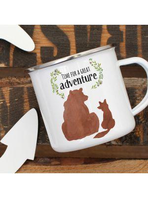 Emaille Becher Tasse Bär Fuchs Time for a great Adventure Geschenk eb409