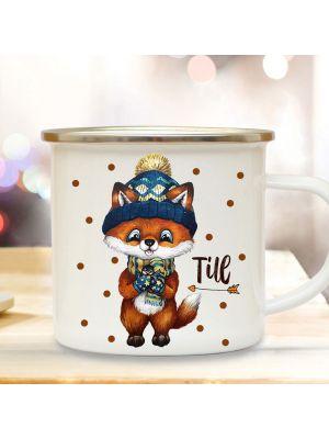 Emaillebecher Becher Tasse Camping Fuchs Winter & Name Kaffeetasse eb567