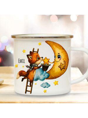 Emaillebecher Becher Tasse Fuchs mit Mond & Name Kaffeetasse Geschenk eb571