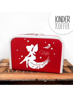 Kinderkoffer Koffer Elfe Fee mit Federn Sternen und Wunschnamen rot children suitcase elf fairy feathers stars with desired name red kos3b
