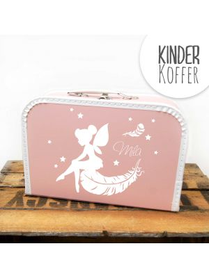 Kinderkoffer Koffer Elfe Fee mit Federn Sternen und Wunschnamen rosa children suitcase elf fairy feathers stars with desired name rose kos3c