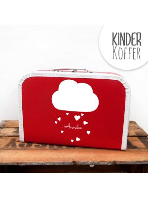 Kinderkoffer Koffer Wolke mit Herzen und Wunschname rot children suitcase cloud with hearts and desired name red kos4b