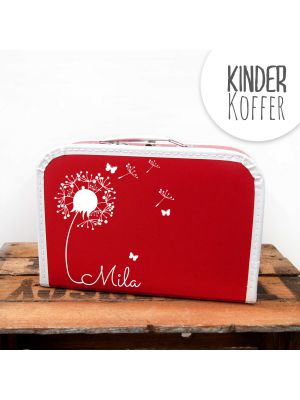Kinderkoffer Koffer Pusteblume mit Schmetterlingen rot children suitcase dandelion with butterflies red kos5b