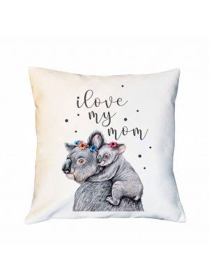 Kissen Dekokissen Campingkissen  Koala I love my mom Zierkissen Spruchkissen inklusive Füllung ks167