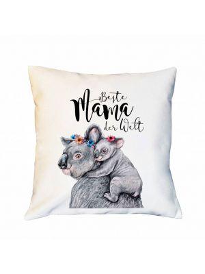 Kissen Dekokissen Campingkissen  Koala Beste Mama der Welt Zierkissen Spruchkissen inklusive Füllung ks180