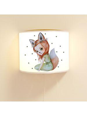 Wandlampe Kinderlampe mit süßen Fuchs Fuchsmädchen Punkte Lampe Leselampe Kinderzimmer ls117