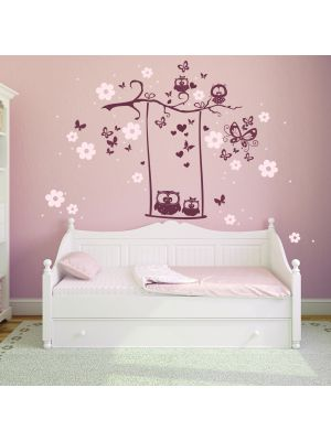 Hauptbild Wandtattoo Eulenschaukel Eulen auf Ast mit Blüten und Schmetterlingen zweifarbig wall decal owl swing owls on branch with blossoms and butterflies bicolor M1024