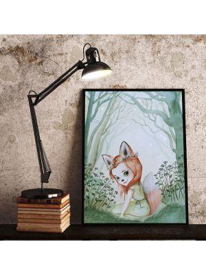 Print Poster in A3 oder A4 Fuchsmädchen Fara im Wald Plakat Kinderposter Druck Motiv p200